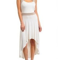 Ivory & Mocha Glitter Contrast Hi-Low Cutout Dress