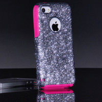 Otterbox iPhone 5c Case Custom Glitter Commuter Smoke/Pink iPhone 5c Otterbox Sparkly Bling Glitter Case