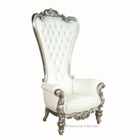 Absolom Roche Chair Silver and White Leatherette, fabulous and baroque, unique kids furniture, luxurious childrens furinture, unique furniture, desig