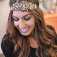 Boho Beaded Headband- Black