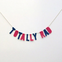 Totally Rad 90s felt party banner, wall hanging, party garland in navy and hot pink