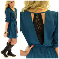 Duskwood Teal Lace Back Dress