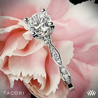 18k White Gold Tacori Sculpted Crescent Almond Crescent Diamond Engagement Ring