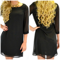 Liddleton Hall Sheer Sleeve Black Dress