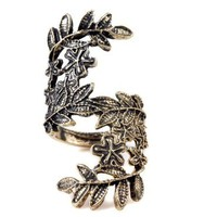 niceeshop(TM) Retro Vintage Bronze Unique Hollow Carving Beauty Leaf Leaves Ring-Old Bronze