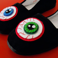 EYEBALL Mary Jane Shoes - Horror Bloodshot Eyes Flats - Adult Size 8