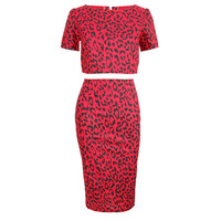 Red Leopard Print Crop Top & Skirt Set | Style Icon`s Closet