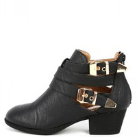 Wild Diva Audrey-03 PU Buckle Cut Out Boots | MakeMeChic.com
