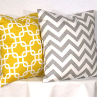 Decorative Pillows 1 Grey and White Chevron by DesignerPillowShop