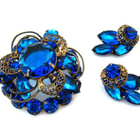 MADELEINE Rhinestone Brooch Earrings Set / Capri Blue Metal Accents Signed Demi Parure / Vintage 1960s Jewelry