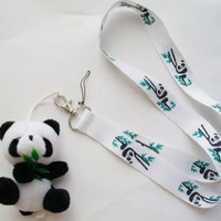 "3.5"" Plush Panda Mascot with Lanyard ~Key Cell Phone Holder~"