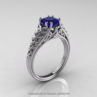 Classic French 14K White Gold 1.0 Ct Princess Blue Sapphire Diamond Lace Engagement Ring or Wedding Ring R175P-14KWGDBS