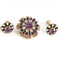 CORO Vintage Brooch Earrings Demi Parure Purple Enamel