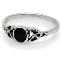 Black Onyx Inlay 925 Sterling Silver Celtic Knot Ring