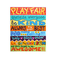 Playroom Wall art, PLAYROOM RULES No.2, 16x20 acrylic canvas, Children's painting for classroom