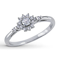Diamond Promise Ring 1/4 ct tw Round-cut 10K White Gold