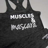 Muscle and Mascara Tank Top. Muscles and Mascara Shirt. Muscles & Mascara. Muscles Tank Top. Womens Workout Tank. Womens Gym Tank. Running.