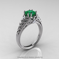 Classic French 14K White Gold 1.0 Ct Princess Emerald Diamond Lace Engagement Ring or Wedding Ring R175P-14KWGDEM
