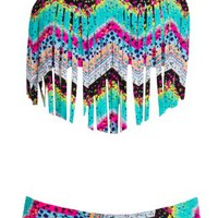 Roxy Girls 7-16 Sea Hippie Fringe Bandeau Swimsuit Set