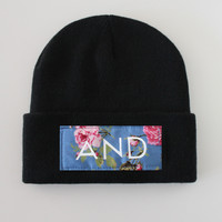 ANDCLOTHING — Black Floral And Beanie