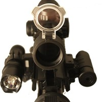 """Ultimate Arms Gear Ultimate Tactical """"CQB"""" Illuminated Red & Green Dot Scope + Flashlight Light + Laser + AR15 AR-15 M4 M16 Rifle Flattop Tri Weaver Picatinny Rail See Thru Mount- Includes Pressure Switches, Rings, Batteries, Flip Up Lens Caps & Lens Clean"""