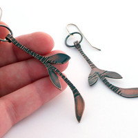 Handmade Copper Leaf Earrings, Oxidized Copper Jewelry, Long Copper Earrings