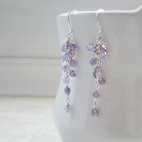 Lavender Amethyst Cascade Earrings, Faceted Amethyst Earrings, Pale Purple, Sterling Wire Wrap Earrings, Febuary Birthstone