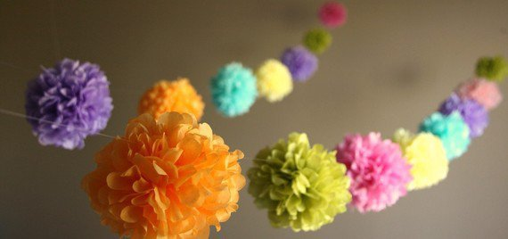 Party Pom Garland  choose your colors  featured in by PartyPoms