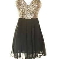 Gold Sequin Skater Dress - Kely Clothing