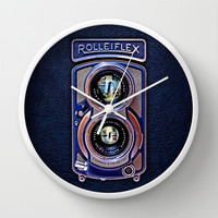 classic retro Rolleiflex Dual lens camera iPhone 4 4s 5 5c, ipod, ipad, tshirt, mugs and pillow case Wall Clock by Three Second