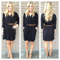Black Jersey Pocket Dress with Tan Belt