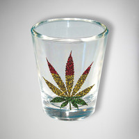 Glitter Rasta Leaf Shot Glass