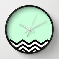 Mint Chevron Piece Wall Clock by dani