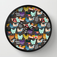 Cincinnati Chickens Wall Clock by Sharon Turner