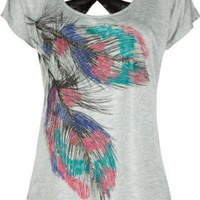 Amazon.com: FULL TILT Lace Back Feather Womens Top: Clothing