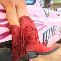 THE RAMBLER FRINGE BOOT-CRIMSO - Junk GYpSy co.