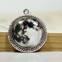 Full Moon Galaxy Necklace, Galaxy Pendant, Silver Plated Space Jewelry