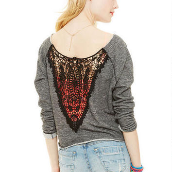 Crochet Back Sweatshirt -