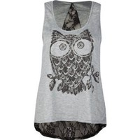 Amazon.com: DESTINED Lace Back Owl Womens Tank: Clothing