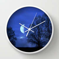 Moon between Trees  - JUSTART © Wall Clock by JUSTART