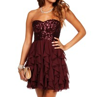 Clare-Burgundy Homecoming Dress