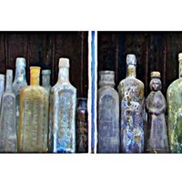 Still Life Fine Art, Bottled Dreams, 5x7 Antique Bottle Photograph, Apothecary, French Quarter, New Orleans, Watercolor Effect