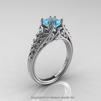 Classic French 14K White Gold 1.0 Ct Princess Aquamarine Diamond Lace Engagement Ring or Wedding Ring R175P-14KWGDAQ