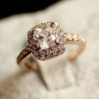 Hot Selling Women's Girls' 18K Rose Gold GP Crystal Unique Beautiful Ring BJS157