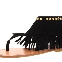 New Womens Dual Fringe Dress Sandals in Black, Brown, Fuchsia, Blue