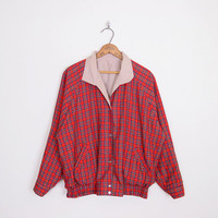 Red Plaid Jacket Plaid Bomber Jacket Plaid Windbreaker Jacket Oversize Jacket Oversize Bomber 80s Jacket 90s Grunge Jacket S M L XL XXL 1X