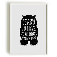 A4 cute monster print, birthday gift, kids bedroom - Learn to love your inner monster