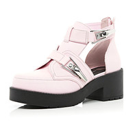 Pink chunky buckle cut out boots - ankle boots - shoes / boots - women