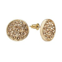 Jennifer Lopez Gold Tone Simulated Crystal Button Stud Earrings