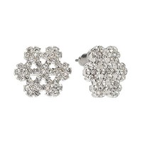 LC Lauren Conrad Silver Tone Simulated Crystal Snowflake Stud Earrings